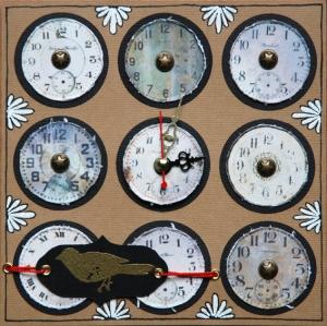 Carte représentant 9 horloges en gros plan
